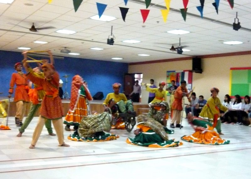 Students dancing in traditional dress