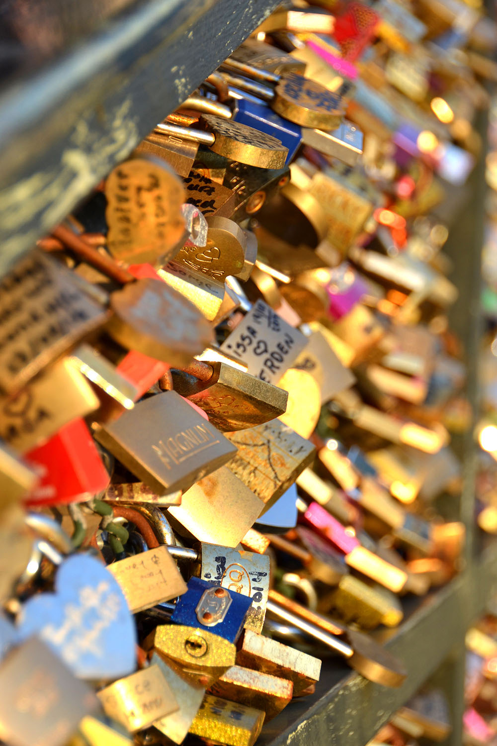 Locks on love lock bridge