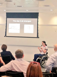 Claire Harvey, Paralympic Volleyball player, shares her story to the audience