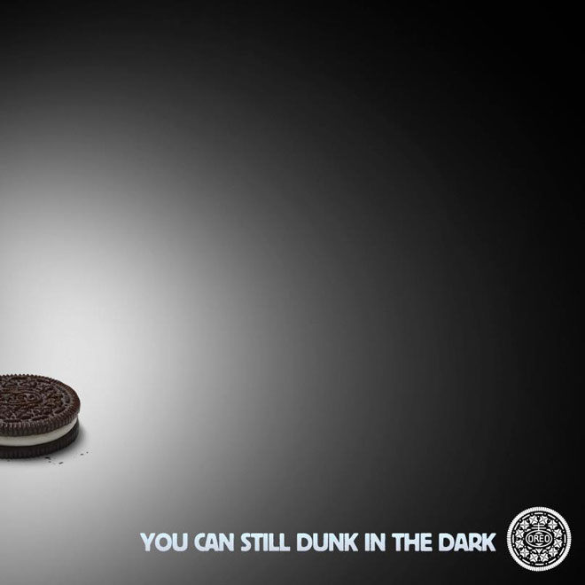 "An oreo advert ""you can still dunk in the dark"""