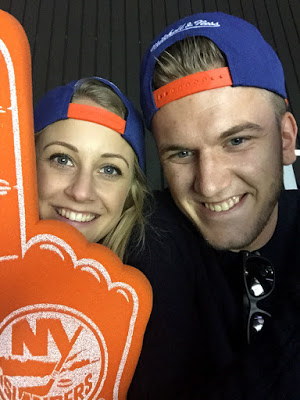 Lee and I in our Islanders merchandise