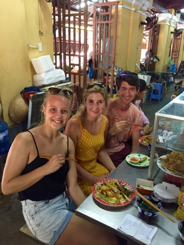 Rosie, Herry and I eating at the market