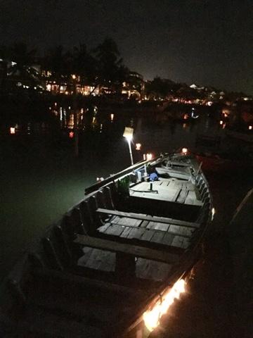 A boat in the dark
