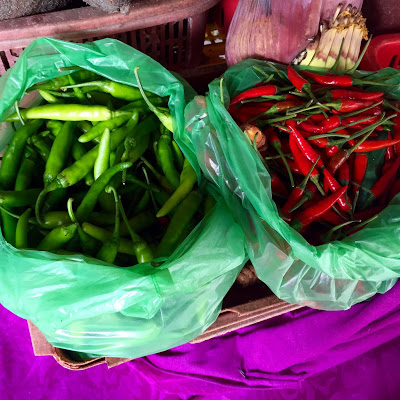 Green and Red Chilies in Hoi An Market