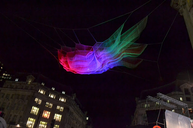 Suspended coloured lights in Oxford Circus