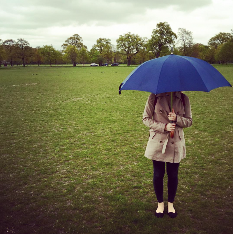 Me in a field with an umbrella