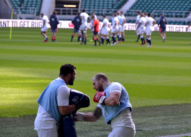 James Haskell training with Ellis Genge