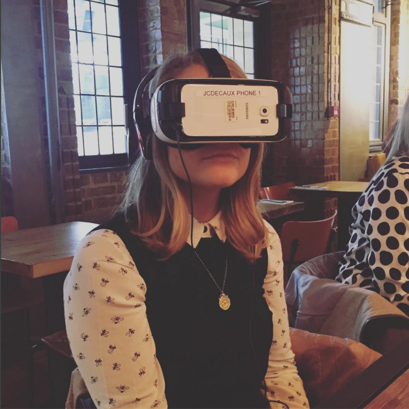 With the virtual reality headset on
