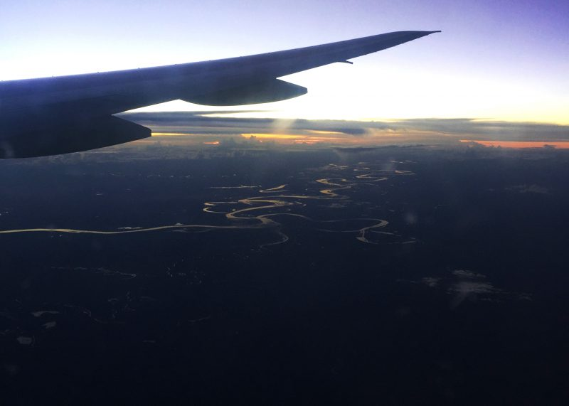 View across South America from the plane