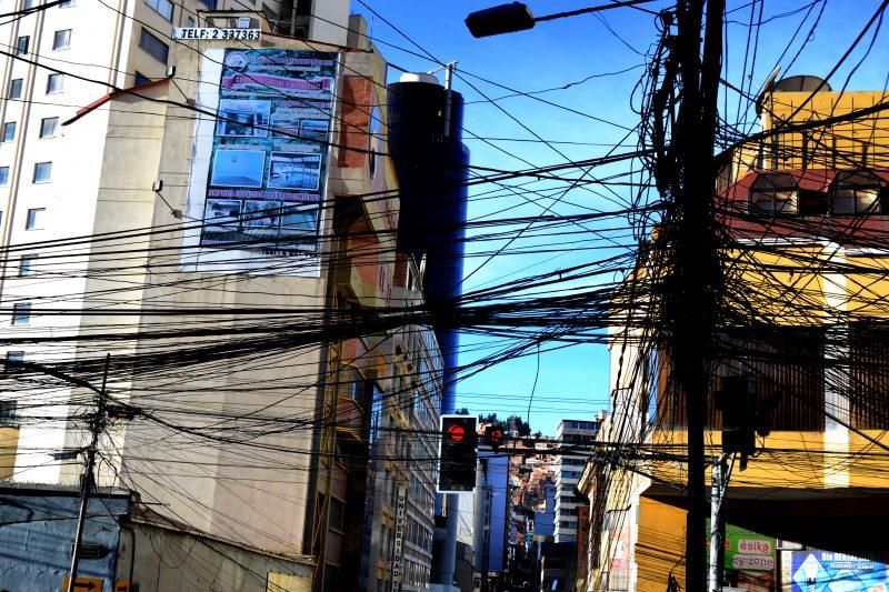Crazy overhead wires in La Paz