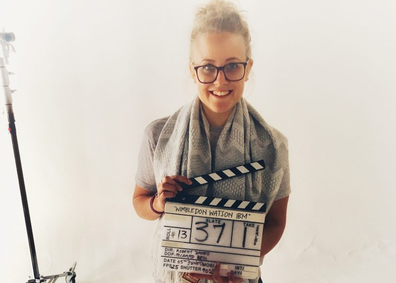 Sarah with a clapperboard
