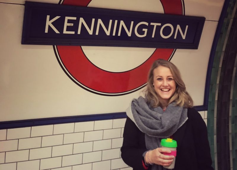 With a coffee at Kennington Tube station