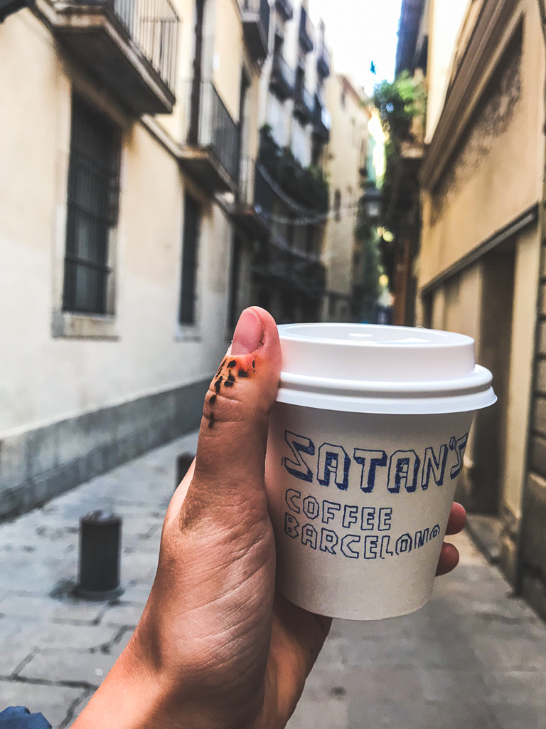 where to eat in Barcelona: Satan's Coffee Cup in the streets of Barca