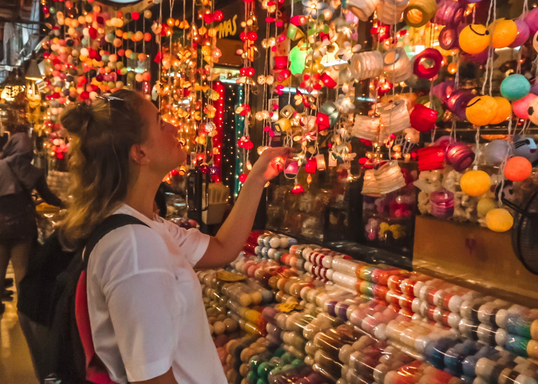 Checking out fairy lights at the Bangkok Weekend Market, best of Bangkok