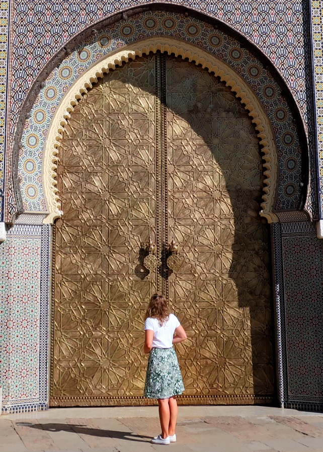 Outside the door of the Royal Palace, guide to Fez