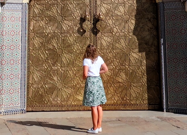 Outside the doors of the Palace, guide to Fez