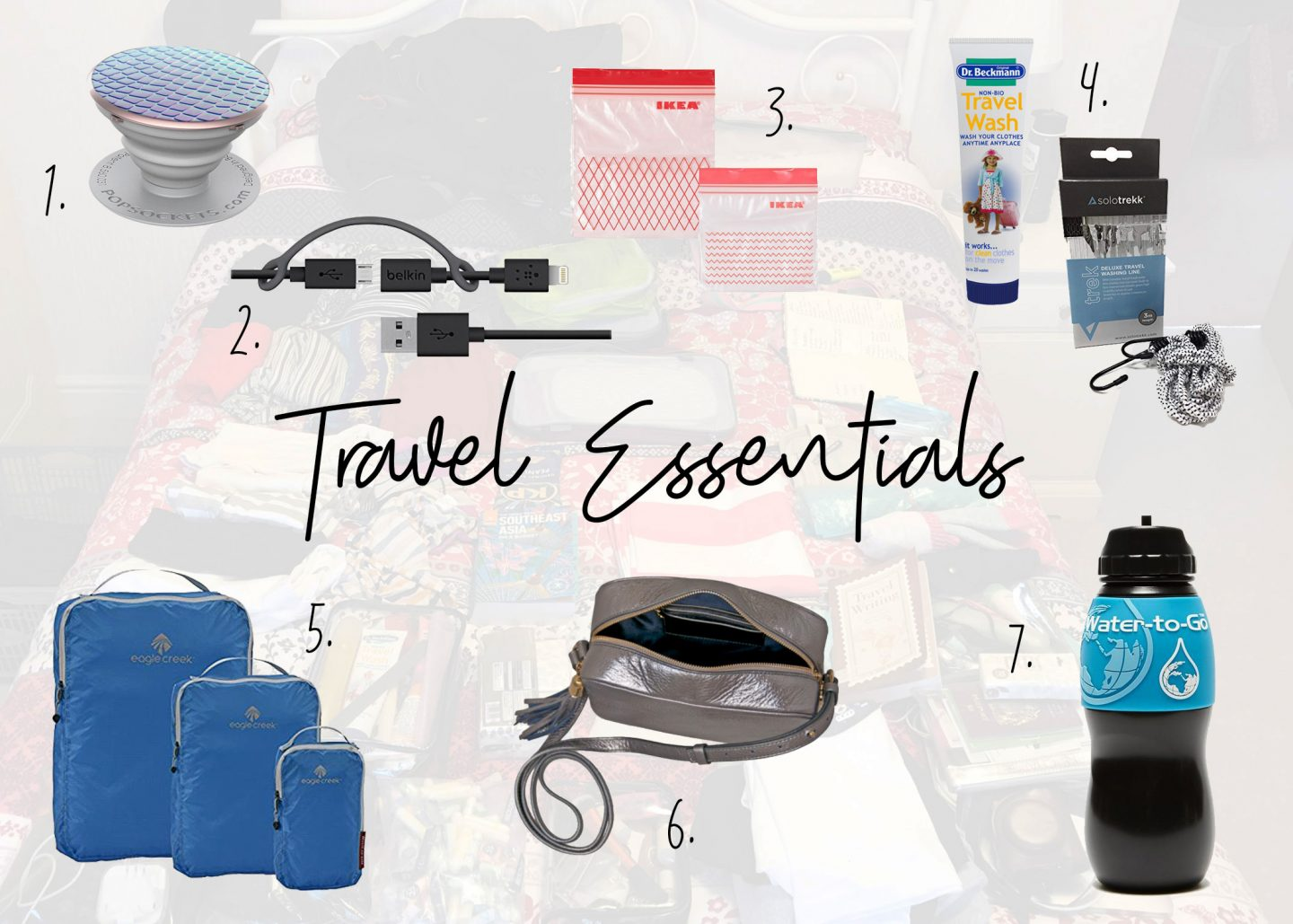 Collage of all useful travel essentials including pop socket, sandwich bags, wires, travel wash, bag, water bottle and packing squares.
