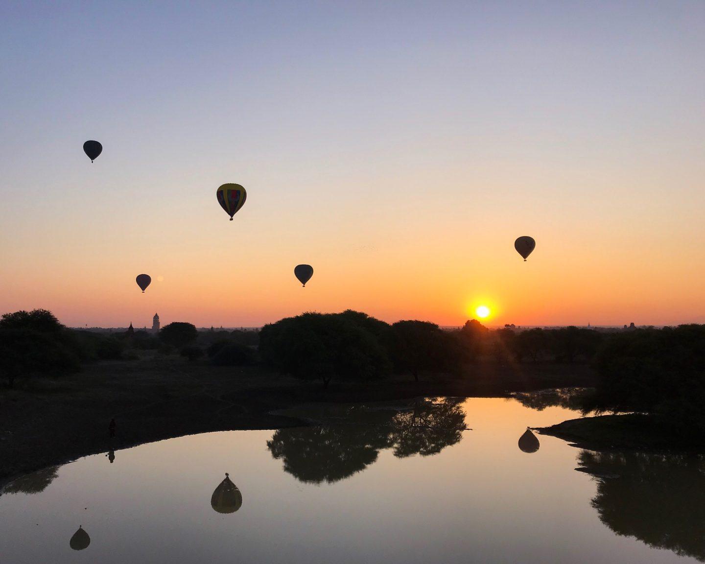 Balloons at Sunrise in Bagan