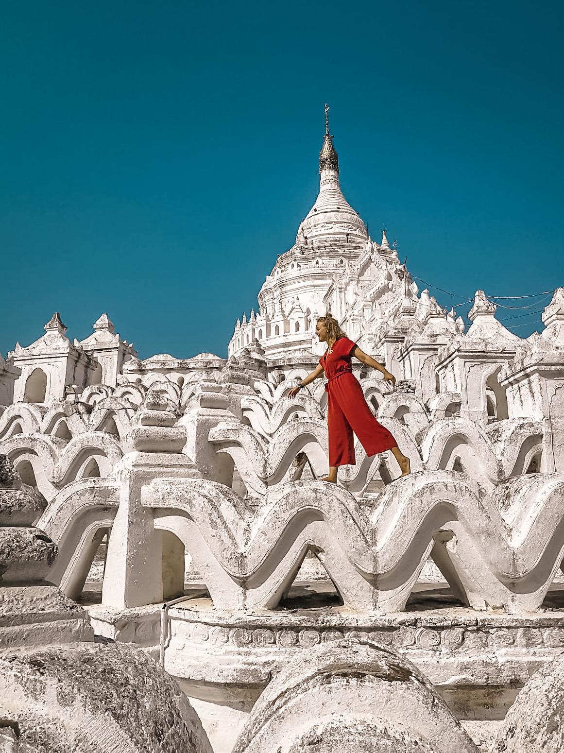 Walking across the waves of Myatheindan Pagoda