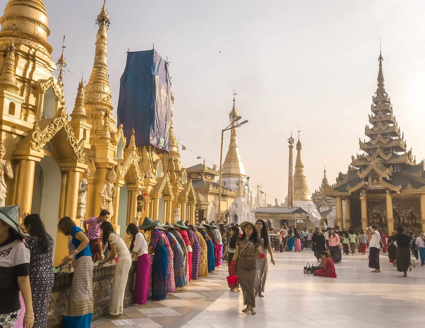 Women in colourful dress at Shwedagon Pagoda