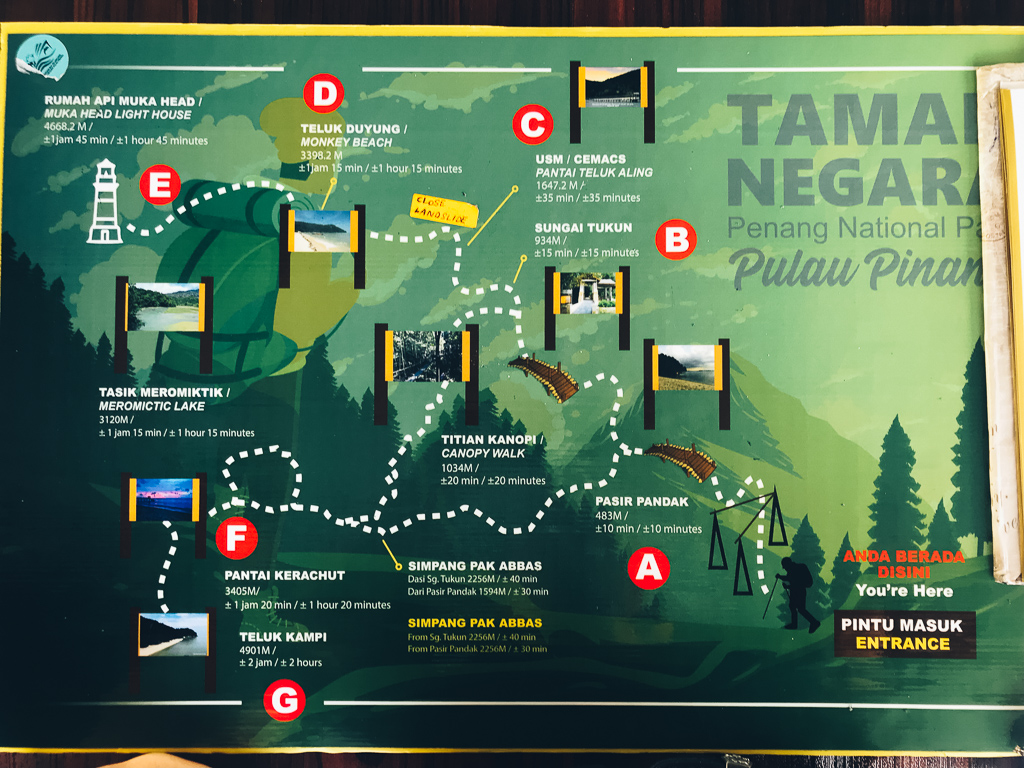 Map of Penang National Park