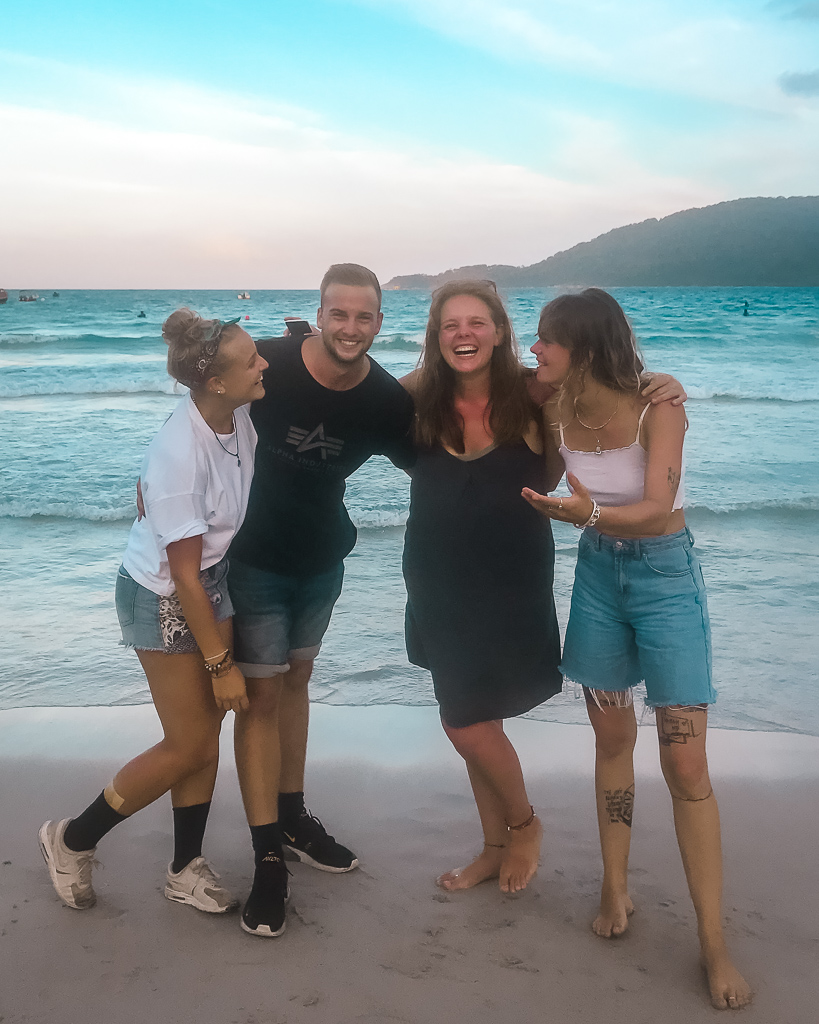 me, Thijs, Laura and Emma on the beach