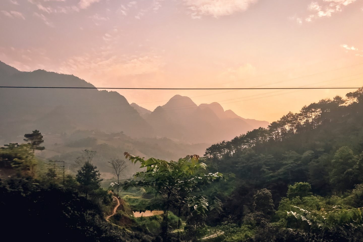 Sunset over the mountains in North Vietnam