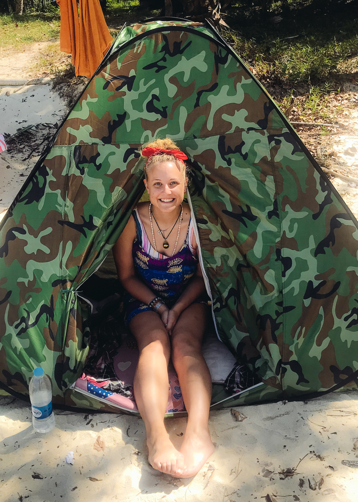 Myanmar beaches:  Me in a tent on the beach