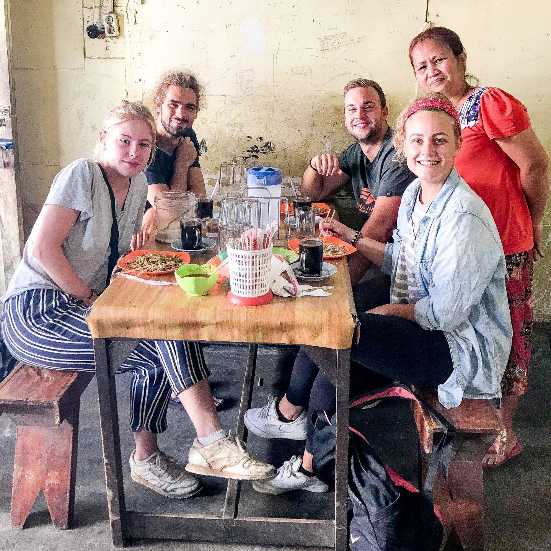 Having breakfast with locals