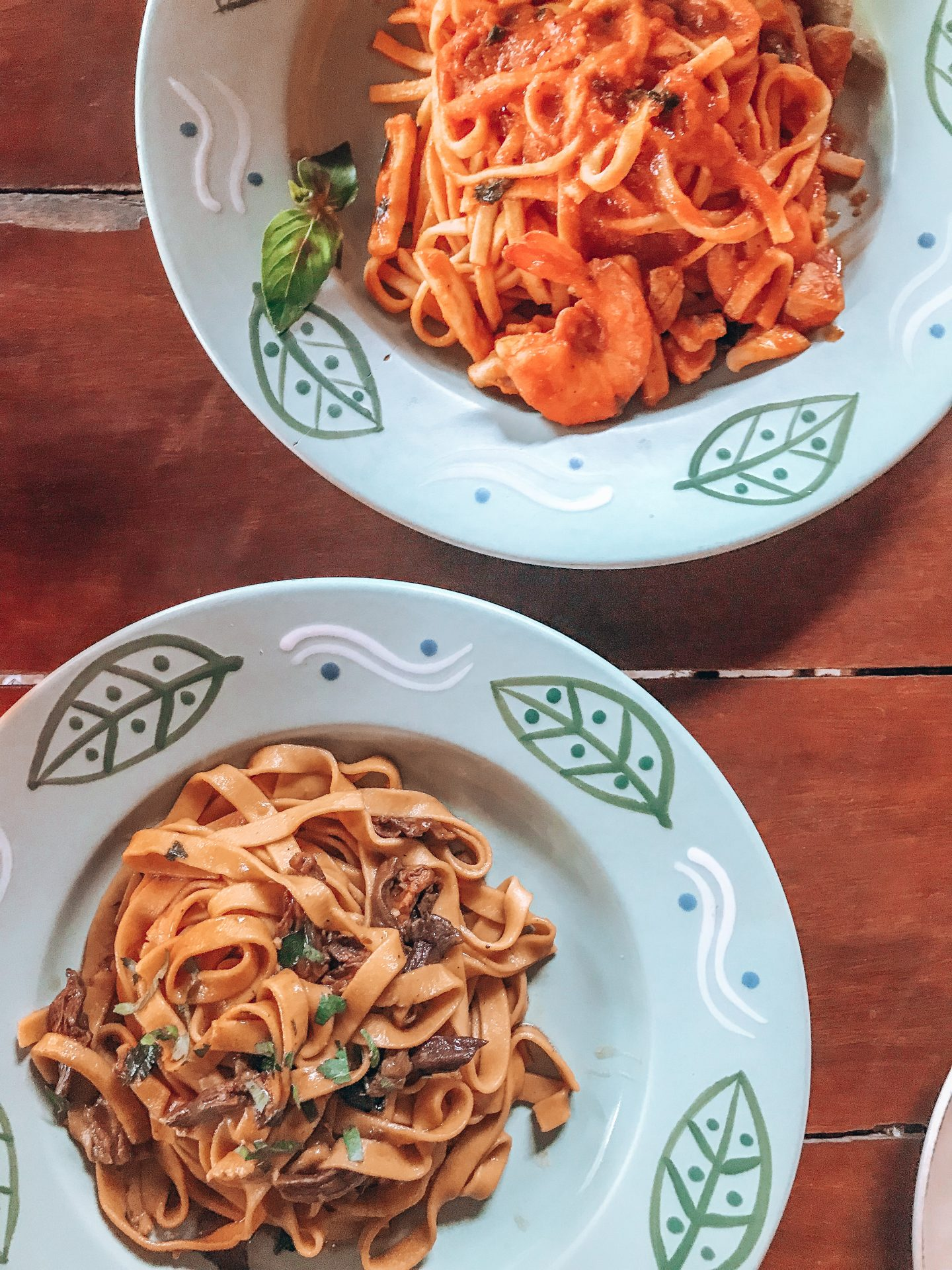 veggie food siargao: Two bowls of pasta at La Candineria