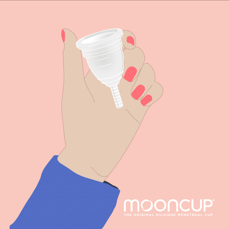 A graphic of a someone holding a mooncup