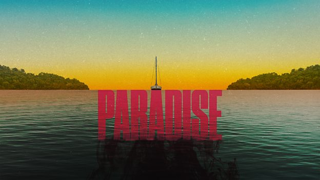 True Crime Podcasts: Graphic for the podcast Paradise features low light and a boat in the distance.